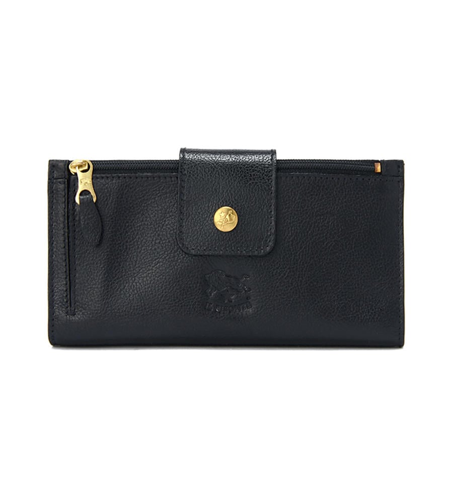 お金を引き寄せ守る黒い財布 IL BISONTE ロングウォレット
